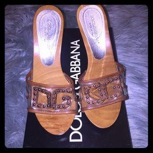 Dolce & Gabbana Wood Slide Heels 💯% Authentic